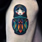 Colorful matryoshka doll tattoo