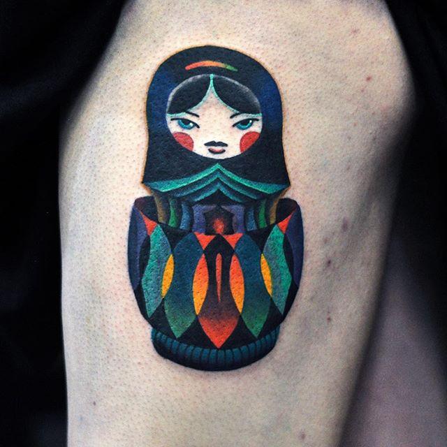Colorful matryoshka doll tattoo