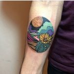 Colorful landscape tattoo by dusty past