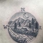 Compass landscape tattoo