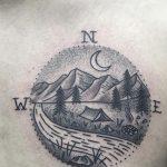 Compass landscape tattoo