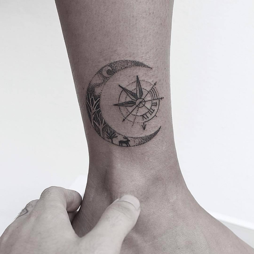 Crescent moon tattoo by carlo