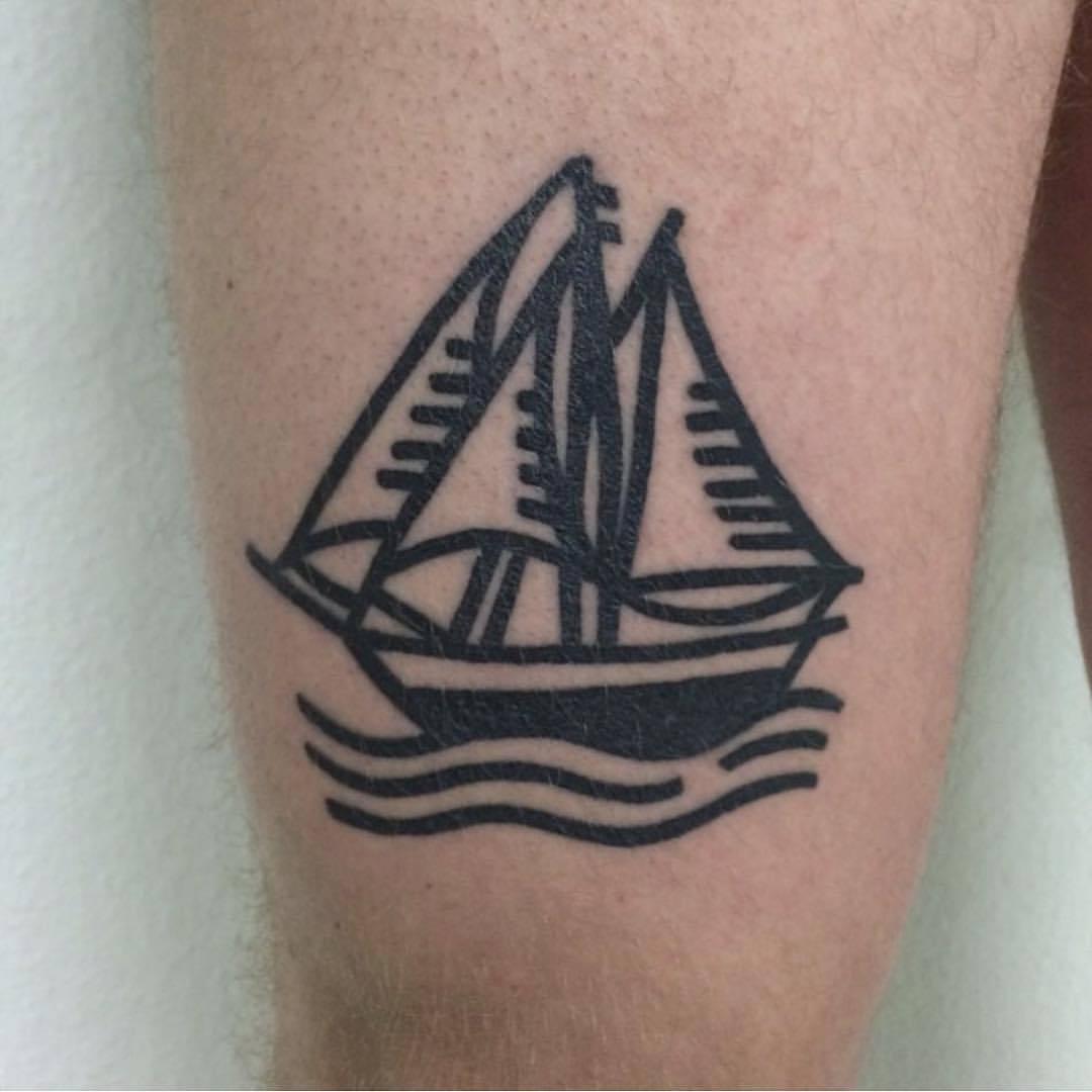 Crisp sailing ship tattoo