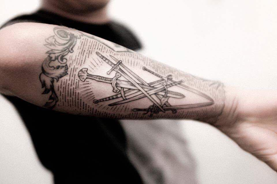 Crossed swords tattoo by dogma noir