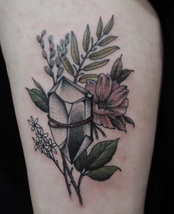 Crystal and wildflowers tattoo