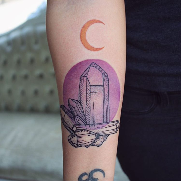 Crystals, purple circle and crescent moon tattoo