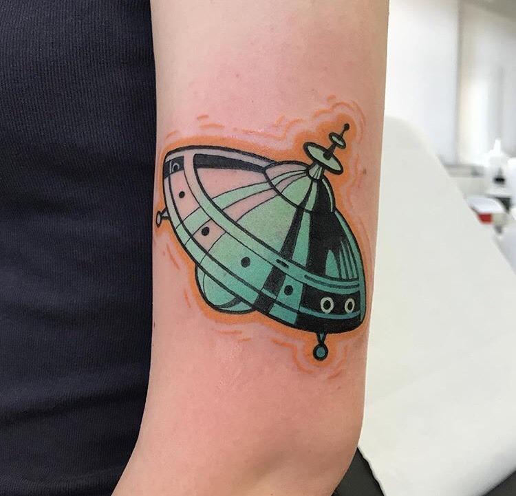 Cute ufo tattoo