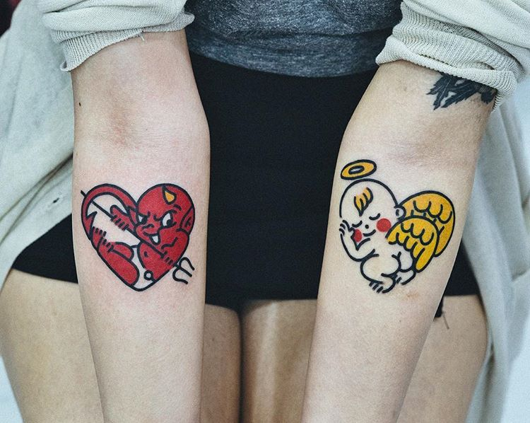 Cute angel and demon tattoos