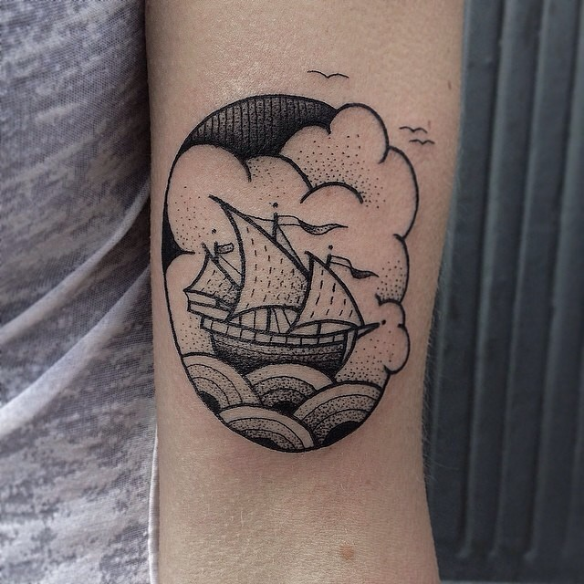 Cute ship tattoo by susanne könig