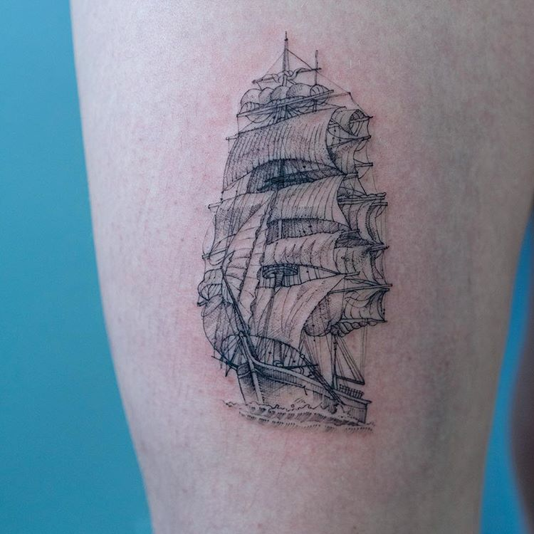 Detailed old ship tattoo