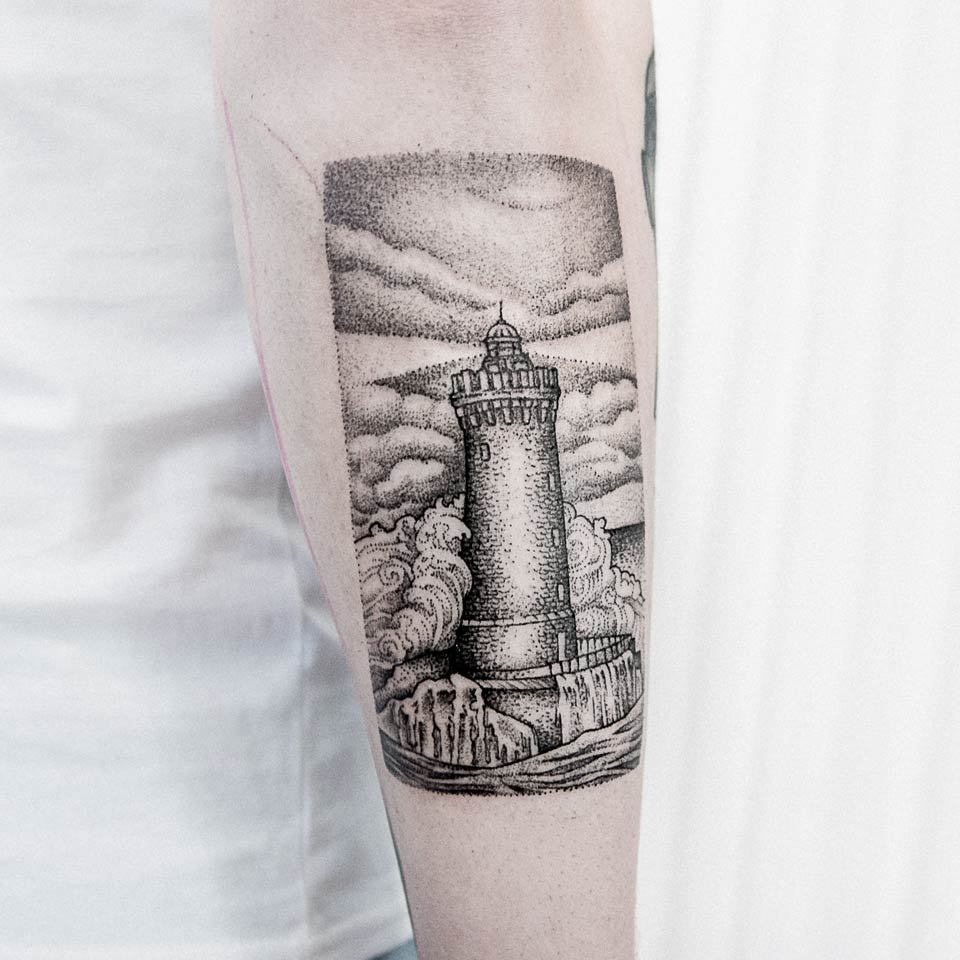 Dotwork lighthouse tattoo by dogma noir