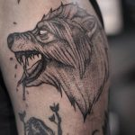 Dotwork wolf tattoo by lindsay april