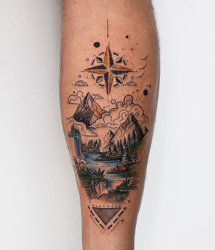 Dreamy Landscape And Compass Rose Tattoo Tattoogrid Net