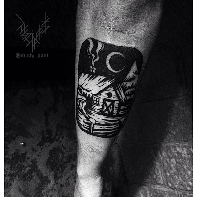 Ex libris style house tattoo