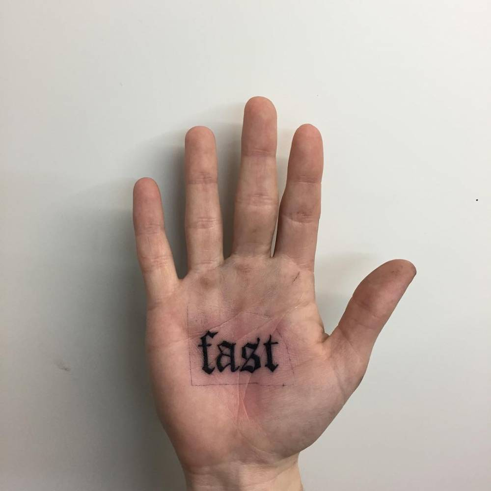 Fast tattoo on the palm