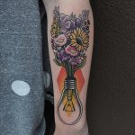 Flower bouquet in a lightbulb