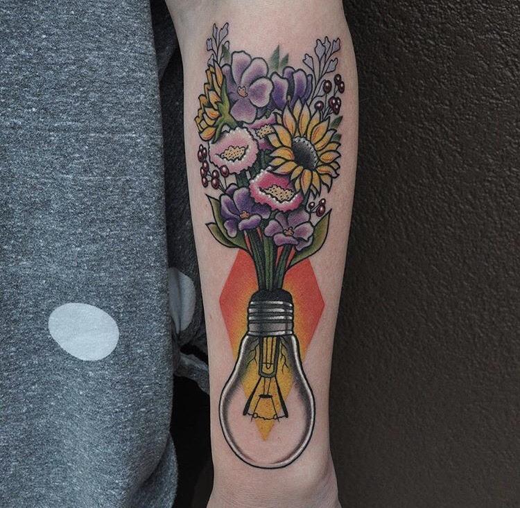 Flower bouquet in a lightbulb