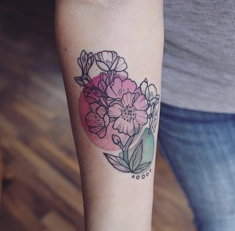 Flower tattoo by emily kaul