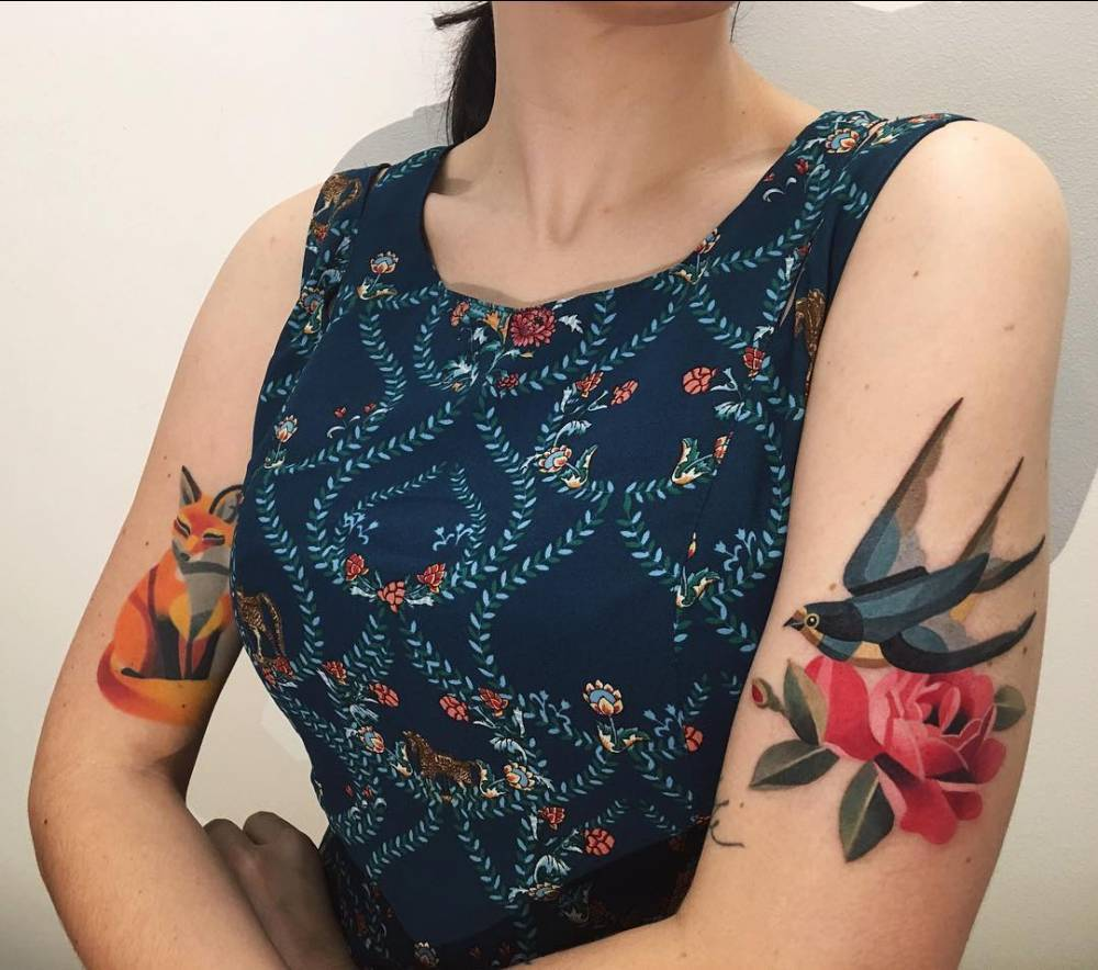Fox, swallow and rose tattoos