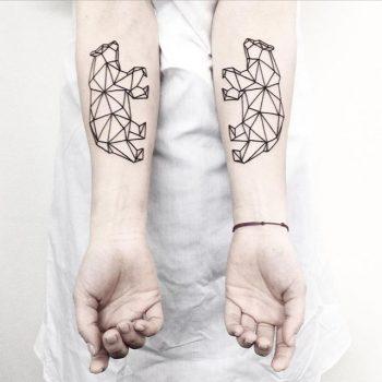 Geometric bear tattoos