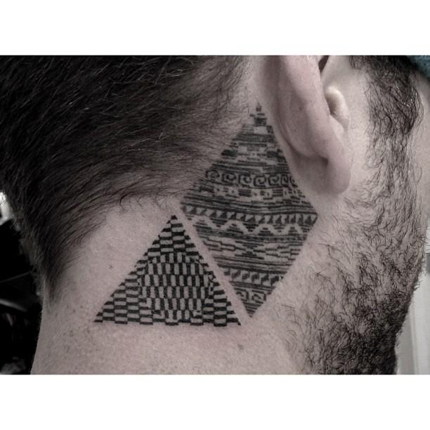 Geometric pattern triangle and rhombus tattoos