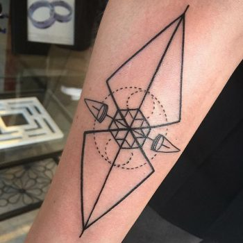 Geometric weather vane tattoo