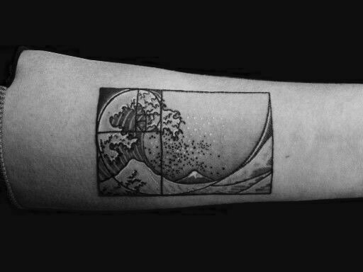 Golden ratio and great wave of hokusai tattoo