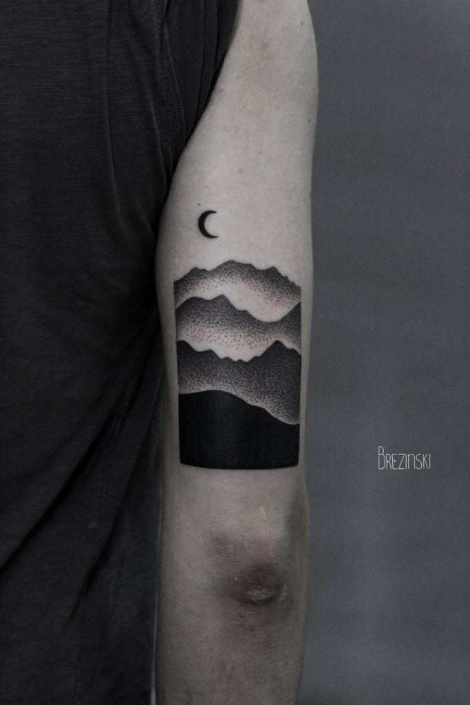 Gradient landscape tattoo