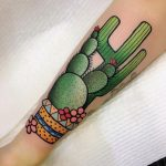 Green cacti tattoo by miss quartz