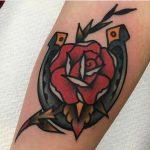 Horseshoe and rose tattoo by jeroen van dijk