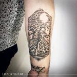 Island volcano tattoo