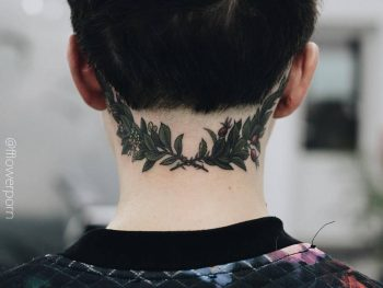 Laurel wreath tattoo on the back of the neck