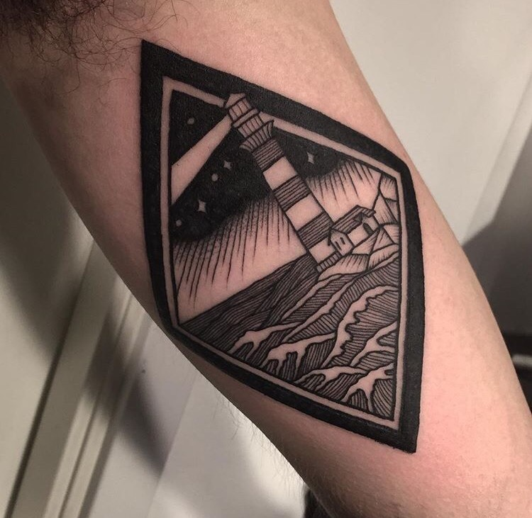 Lighthouse tattoo by jack ankersen