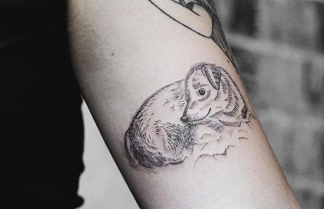 Linework dog portrait tattoo