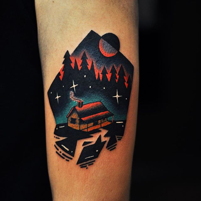Lonely shack tattoo