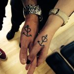 Matching anchor and heart tattoo idea for a couple