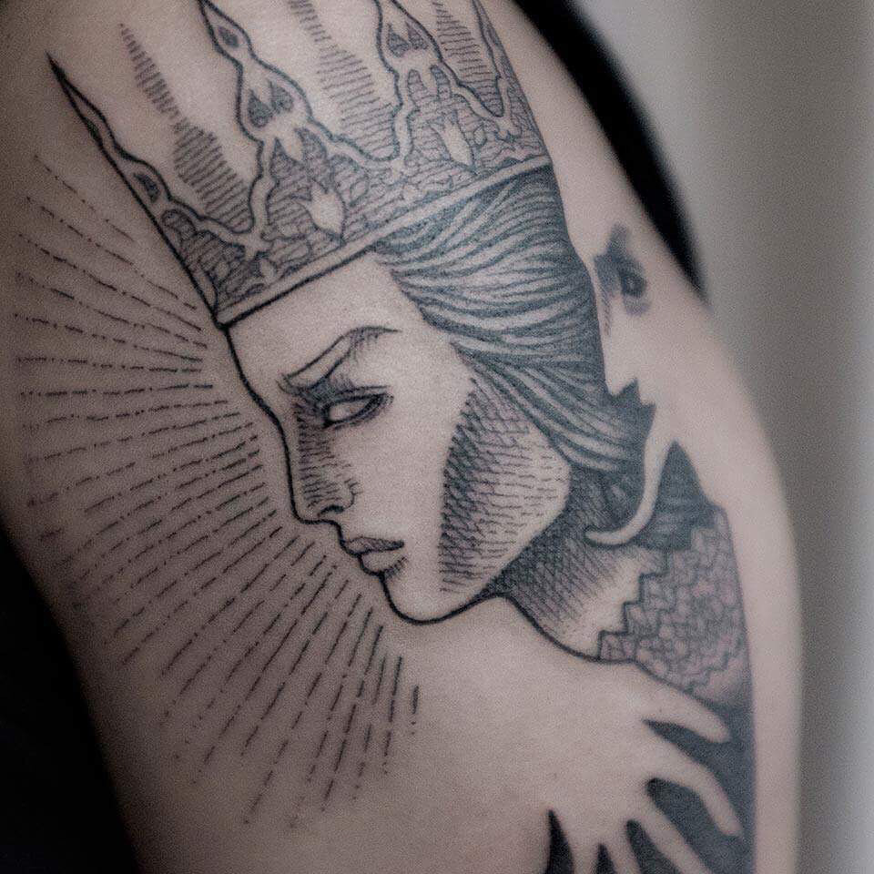 Medieval queen tattoo