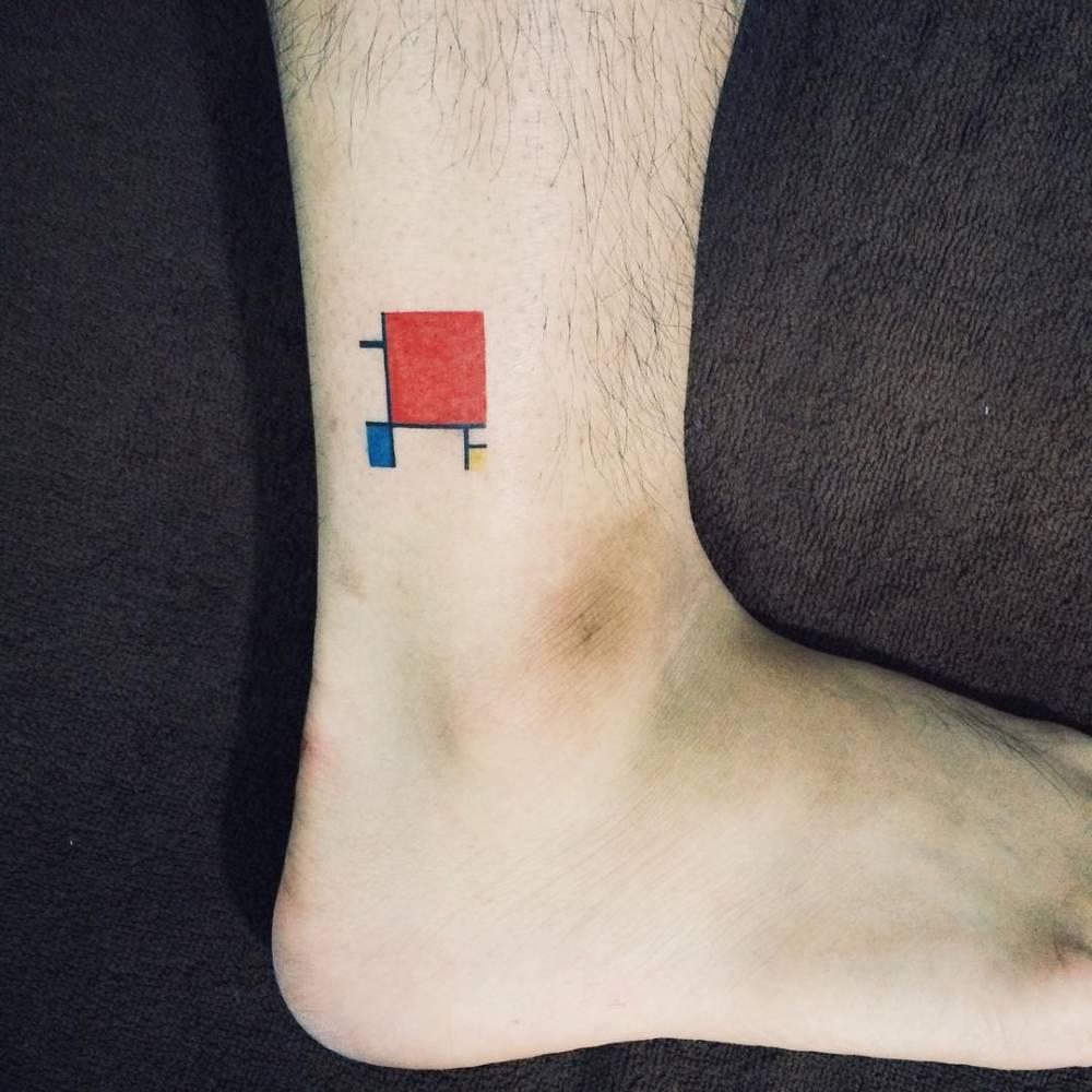 Minimalist cubism tattoo