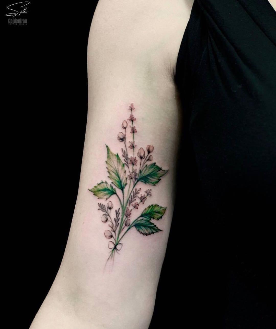 Mint leaves tattoo