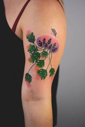 Monstera jellyfish tattoo by joanna Świrska