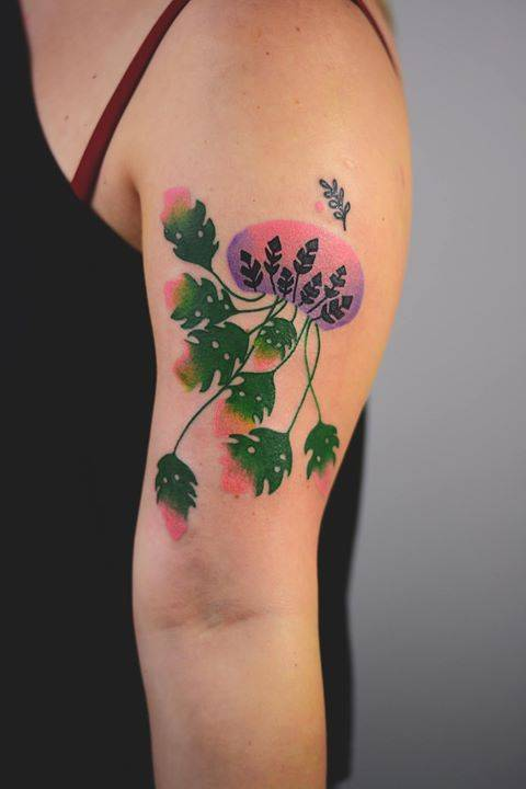 Monstera jellyfish tattoo by joanna Świrska