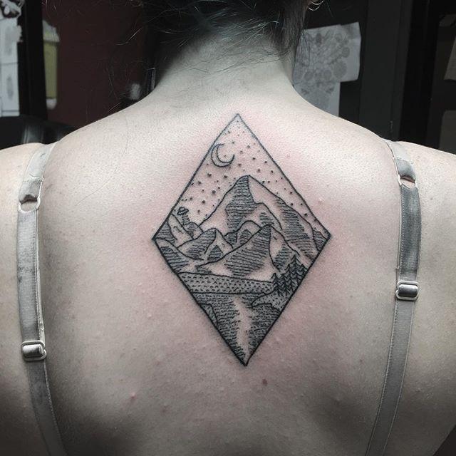 Mountainous landscape in a rhombus