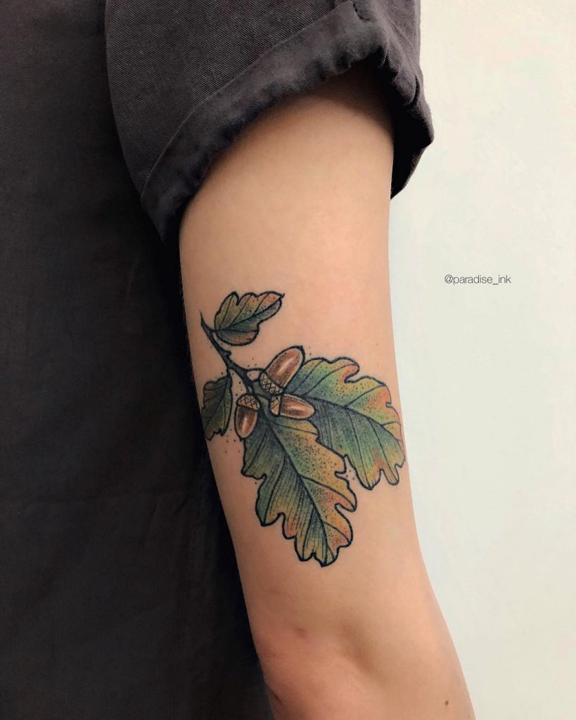 Oak tree branch tattoo