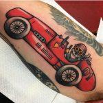 Old school racing car tattoo