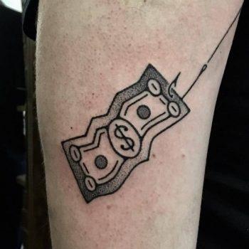 One dollar bill tattoo by adam sage