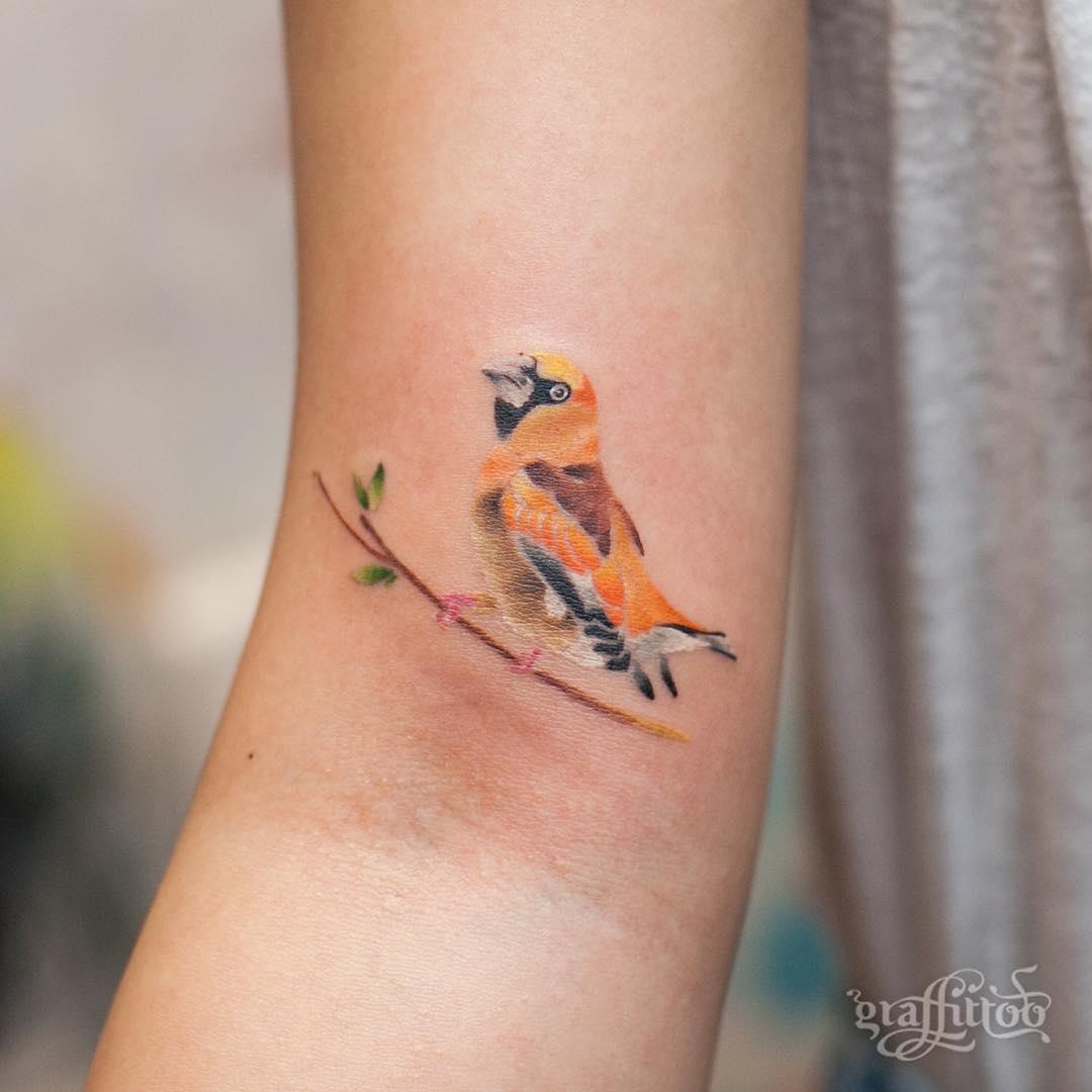 Orange bird tattoo