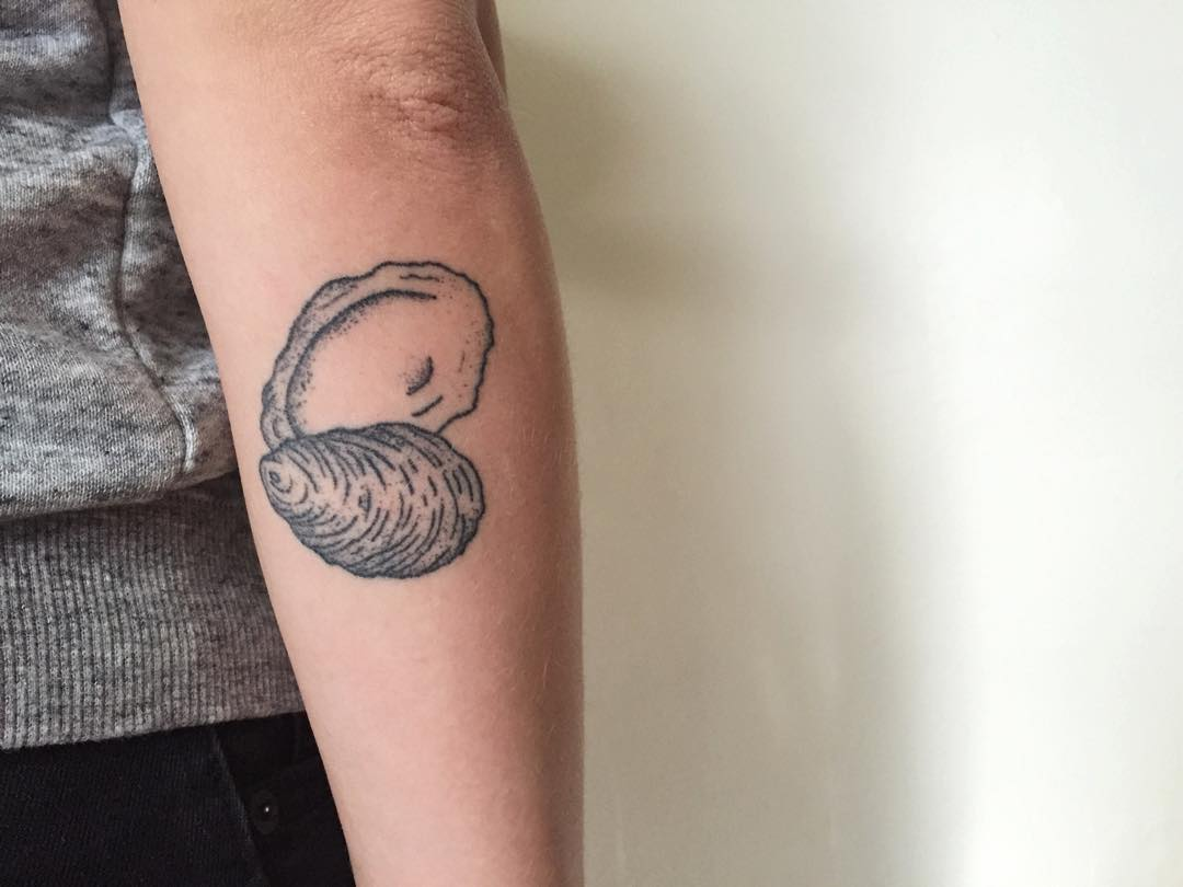 Oyster shell tattoo