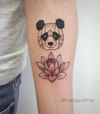 Panda lotus flower tattoo