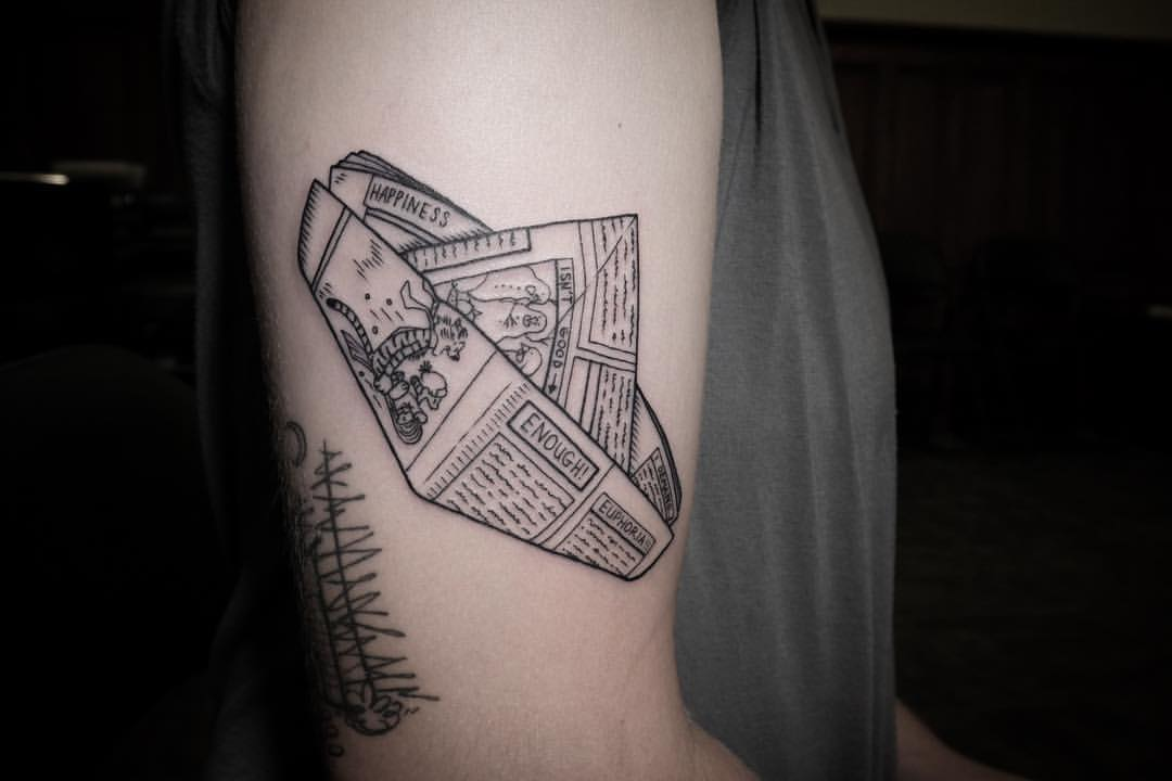 Paper boat tattoo