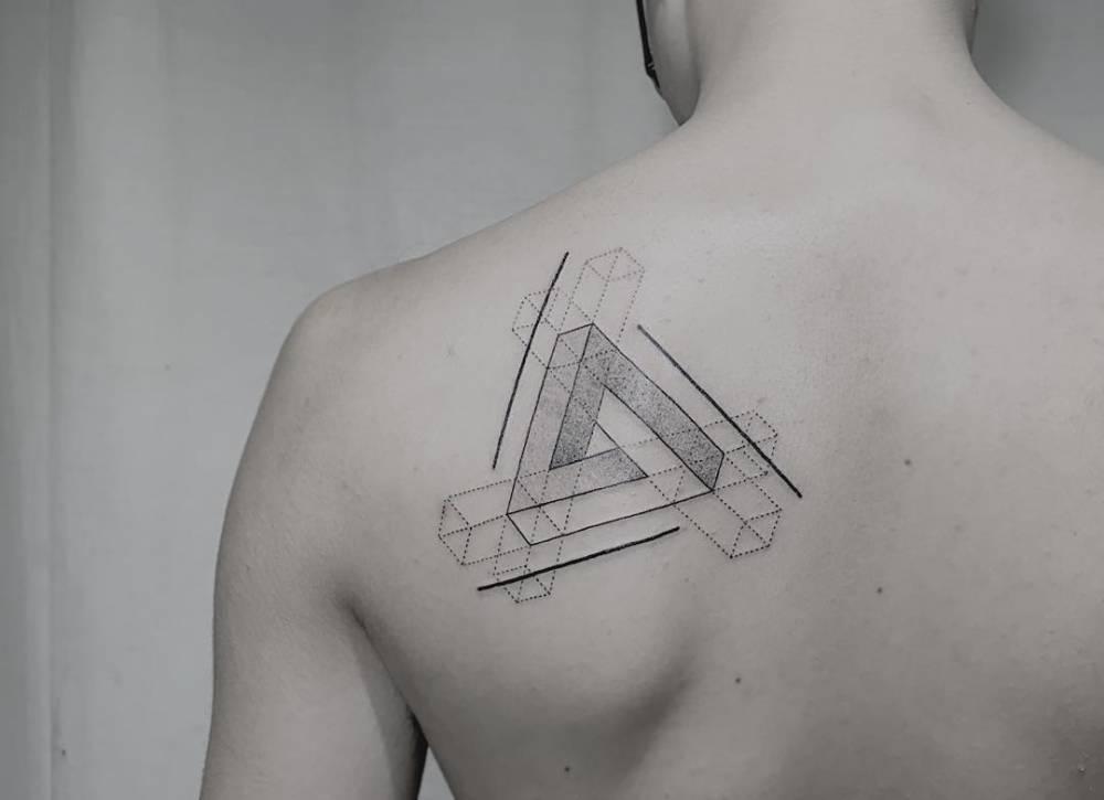 Penrose triangle tattoo on the back